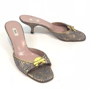 2e474c9c9d0 Prada Kitten Heels Mules Slip On Textured